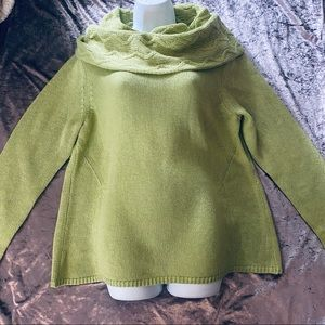 Chico's Pastel Green Cowl Neck Oversized Sweater